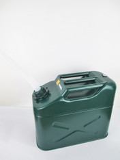 10 Litres Green Metal Fuel (Petrol/Diesel) Jerry Can with plastic spout attached