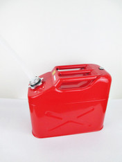 10 Litres Red Metal Fuel (Petrol/Diesel) Jerry Can with plastic spout attached