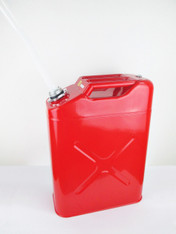 20 Litres Red Metal Fuel (Petrol/Diesel) Jerry Can with plastic spout attached