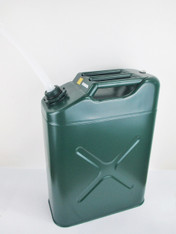 20 Litres Green Metal Fuel (Petrol/Diesel) Jerry Can with plastic spout attached