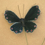 9.5cm Black Glitter Spray Butterfly on Wire