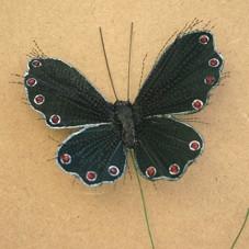 9.5cm Black Glitter Spray Butterfly on Wire