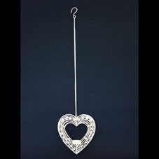 Cream Hanging Tuscany Heart  With Beads