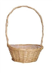 10 inch round florida white basket with handle