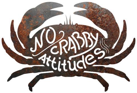 """RUSTIC METAL CRAB """"NO CRABBY ATTITUDES"""" SIGN"""