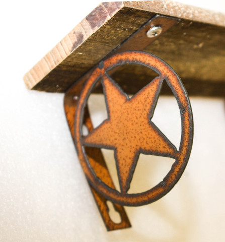 RECLAIMED RUSTIC METAL STAR SHELF DETAIL