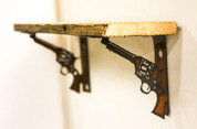 Natural Reclaimed Metal Pistol Shelf