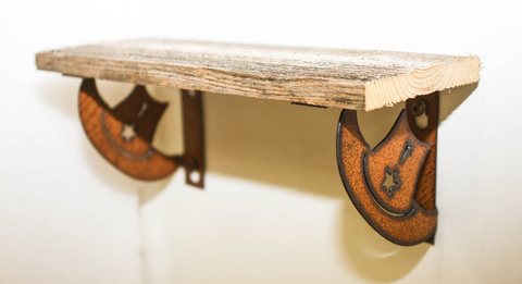 NATURAL RECLAIMED METAL COWBOY HAT SHELF