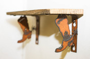 NATURAL RECLAIMED METAL COWBOY BOOT SHELF