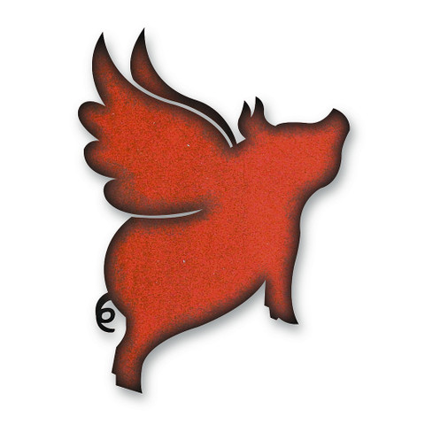 Rustic Metal Flying Pig Magnet