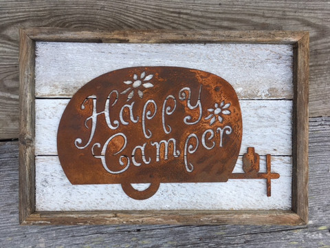 Happy Camper rustic metal sign mounted to shabby white reclaimed wood.