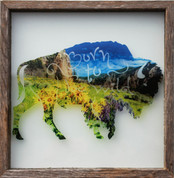 Rustic Glass Framed Buffalo Born to Be Wild