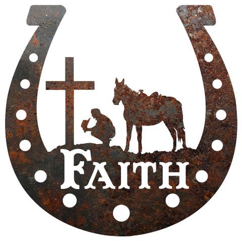 RUSTIC METAL HORSESHOE FAITH SIGN