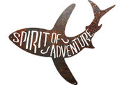 Spirit of Adventure shark rustic metal sign.