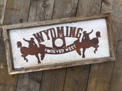 Wyoming Wine Topper mounted on rustic reclaimed shabby frame. Functional home decor.