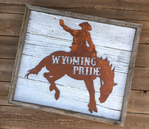 Wyoming Pride Bronco Rustic Metal Sign on Reclaimed Wood