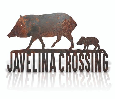 Javelina Crossing rustic metal sign.