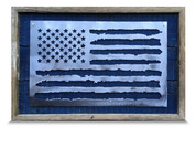 Shabby Blue Chic Frame American Flag, Brushed