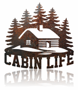 Cabin Life rustic metal sign.