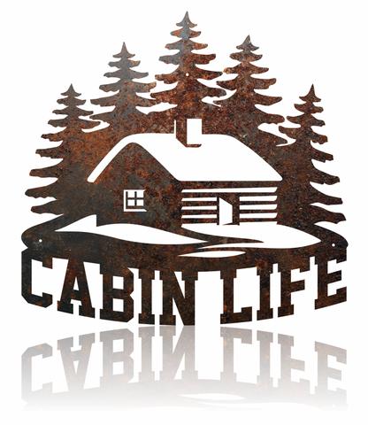 Cabin Life rustic metal sign.