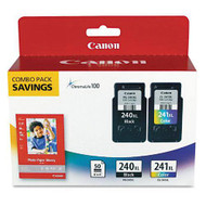 "Canon 5206B005 Black & Color Inkjet Cartridge & 50 4"" x 6"" Photo Paper Multipack Original Genuine OEM"