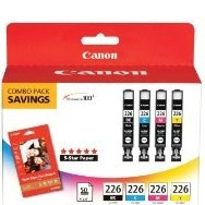 "Canon 2946B004 CLI-226 4 Color Inkjet Cartridge & 50 4"" x 6"" Photo Paper Multipack Original Genuine OEM"