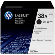 HP Q1338AD (HP 38A) Black Toner Cartridge 2-pack Original Genuine OEM
