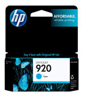 HP CH634AN (HP 920) Cyan Ink Cartridge Original Genuine OEM