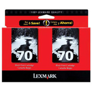Lexmark 15M1330 (#70) Black Ink Cartridge 2-pack Original Genuine OEM