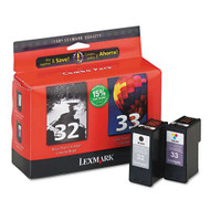 Lexmark 18C0532 (#32/#33) Ink Cartridge Combo Pack (Bk & Clr) Original Genuine OEM