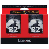 Lexmark 18C0533 (#32) Black Ink Cartridge 2-pack Original Genuine OEM