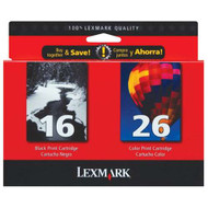Lexmark 10N0202 (#16/#26) Ink Cartridge Combo Pack (Bk & Clr) Original Genuine OEM