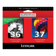 Lexmark 18C2229 (#36/#37) Ink Cartridge Return Program Combo Pack (Bk & Clr) Original Genuine OEM