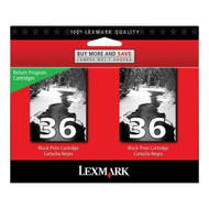 Lexmark 18C2236 (#36) Return Program Black Ink Cartridge 2-pack Original Genuine OEM