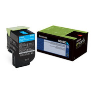 Lexmark 80C1SC0 Cyan Toner Cartridge Original Genuine OEM