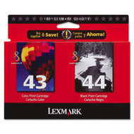 Lexmark 18Y0372 (#43XL/#44XL) Ink Cartridge Combo Pack (Bk & Clr) Original Genuine OEM