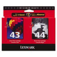 Lexmark 18Y0372 (#43XL/#44XL) Ink Cartridge Combo Pack (Bk & Clr) Original Genuine OEM