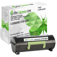 51B1000 - Be Green Ink Compatible Replacement Black Toner Cartridge for Lexmark MS317dn MS417dn MS517dn MS617dn MX317dn MX417de MX517de MX617de - 51B1000 Black Toner
