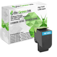 701HC 70C1HC0 Cyan - Be Green Ink Compatible Replacement Magenta Toner Cartridge for Lexmark CS310dn CS410dn CS310n CS310 CS510de CS410n CS 410 CS510 CS410dtn CS510dte - 701HC 70C1HC0 Cyan Toner (High Yield)