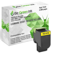 701HY 70C1HY0 Yellow - Be Green Ink Compatible Replacement Magenta Toner Cartridge for Lexmark CS310dn CS410dn CS310n CS310 CS510de CS410n CS 410 CS510 CS410dtn CS510dte - 701HY 70C1HY0 Yellow Toner (High Yield)