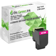 80C1HM0 801HM Be Green Ink Compatible Replacement Magenta Toner Cartridge for Lexmark CX410de CX510de CX410dte CX410e CX510dthe CX510dhe - 80C1HM0 801HM (High Yield)