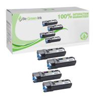 Dell Color Laser 2150cn / 2155cn High Yield Toner Cartridge Savings Pack (K,C,M,Y) BGI Eco Series Compatible
