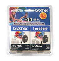 Brother LC41BK2PKS 2-Pack Black Ink Cartridge Original Genuine OEM