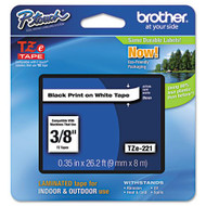 "Brother TZe221 Black On White P-Touch Label Tape 3/8"" x 26.2' Original Genuine OEM"