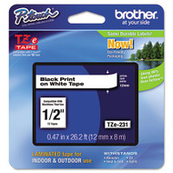 "Brother TZe231 Black On White P-Touch Label Tape 1/2"" x 26.2' Original Genuine OEM"