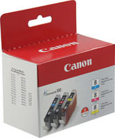 Canon 0621B016 (CLI-8) 3 Color Inkjet Cartridge Multipack Original Genuine OEM