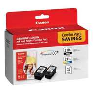 "Canon 2973B004 Black & Color Inkjet Cartridge & 50 4"" x 6"" Photo Paper Multipack Original Genuine OEM"