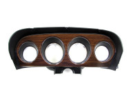 1969 Ford Mustang deluxe instrument bezel with woodgrain insert.
