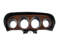 1970 Ford Mustang deluxe instrument bezel with woodgrain insert.