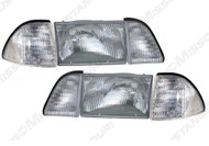 1987-1993 Ford Mustang head lamp kit, 6 piece set with clear side marker lamps.